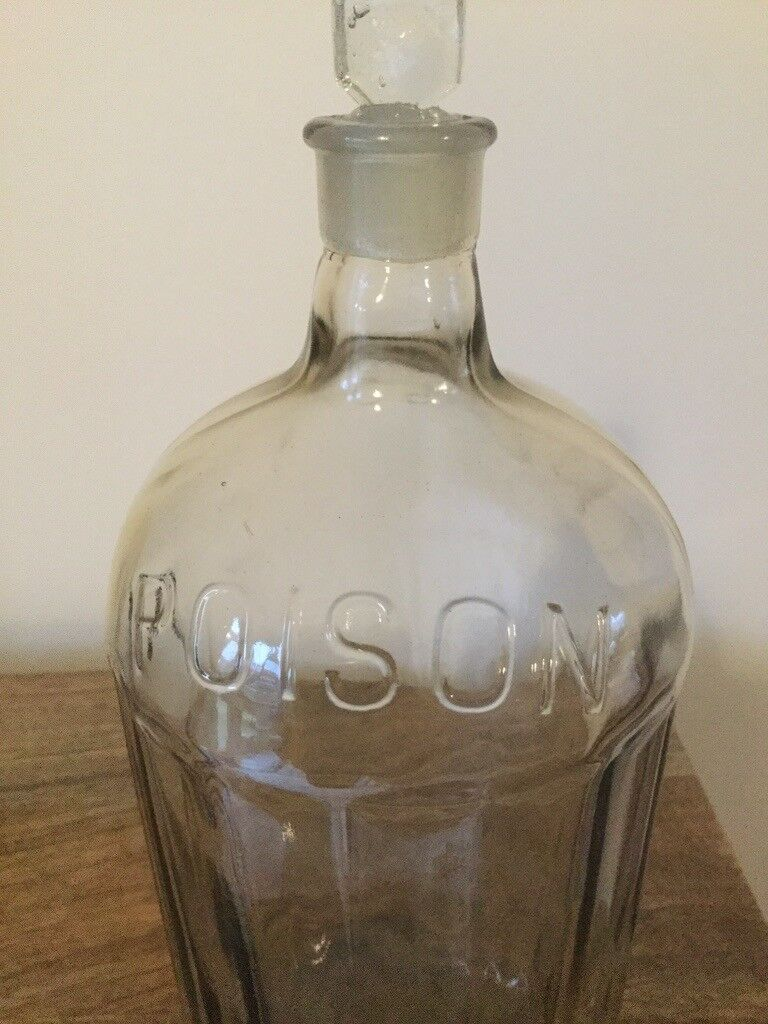 Vintage Glass Poison Bottle Pharmaceutical Bottle Antique