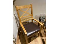 **BARELY USED** 6 solid oak dining room chairs RRP £900
