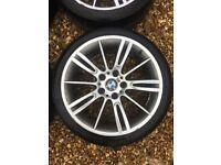 BMW E90 E91 E92 E93 E46 MV3 ALLOY WHEEL WITH GOOD TYRE CAN POST ANYWHERE IN UK
