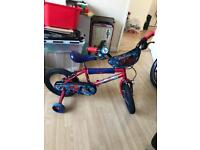 Boys ultimate spider-man bike with stabilisers