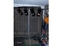 4x disco lights and powered t-bar tripod with controller