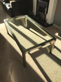 Glass and brushed steel coffee table