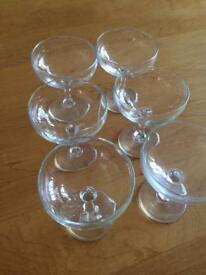 Six champagne coupe style vintage glasses