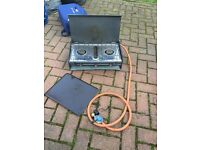 Camping two ring cooker with grill and connections, also foldable kitchen / cooker stand