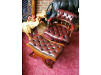 Vintage Leather Norway Ring Mekanikk Captains Chair & Stool Chesterfield Style