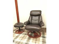 """Ledbury"" Leather relaxer chair with footstool *As New*"