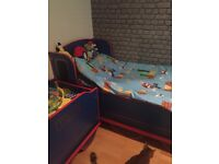 Solid wood train bed and toy box