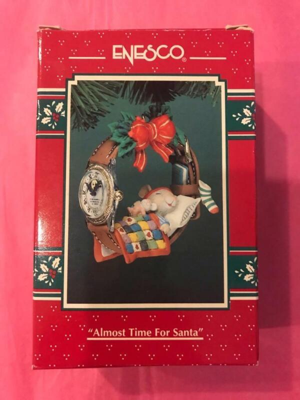 Enesco Treasury Ornament 1994 Almost Time for Santa Mouse Sleeping Bed EUC HTF