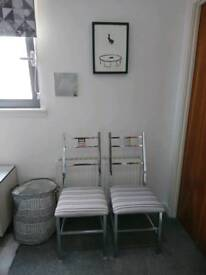 2 x Matching Oriental Style Metal Chairs