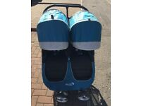 Baby Jogger City Mini with Raincover in Teal - Double / Tandem Pram Pushchair