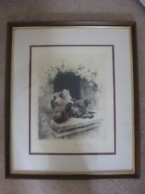 Framed Original Signed Colour Etching Print of three terrier pups by Kurt Meyer Eberhardt
