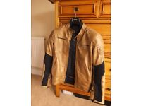Dainese retro leather tan armour jacket size 52 thermal liner armour