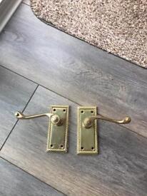 Brass door handles set of 9 pairs