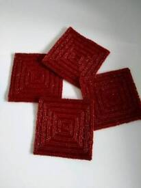 4 Red Beaded Coasters