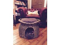 Wicker Two Tier Cat/Dog Bed - Including Two Pillows