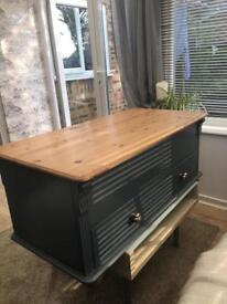 Upcycled/ renovated grey and pine chest/ coffee table with drawers and lift up storage