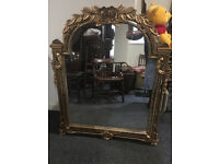 Stunning Large Heavy Arched Top Rococo Style Ornate Floral Carved Gilt Hanging Over-mantle Mirror