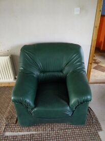 Two Green Leather Armchairs-Excellent condition