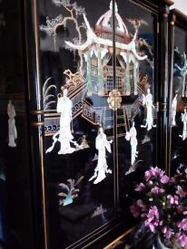 Oriental laquard mother of pearl wardrobe forsale