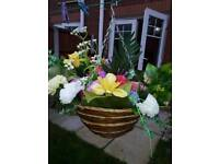 large round hanging baskets with mixed artifical flowers