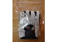 Bicycle Half-finger / Fingerless Track Mitts - White Adult Small