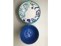 Set of 4 Plates & Bowls (Le Creuset & Anthropologie)