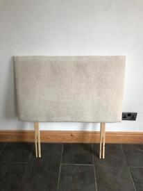 Cream chenille single divan headboard