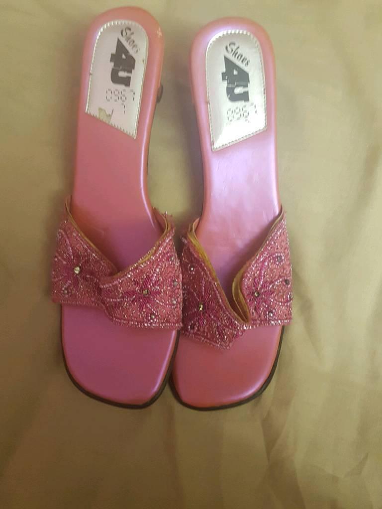 Pink wedding sandals