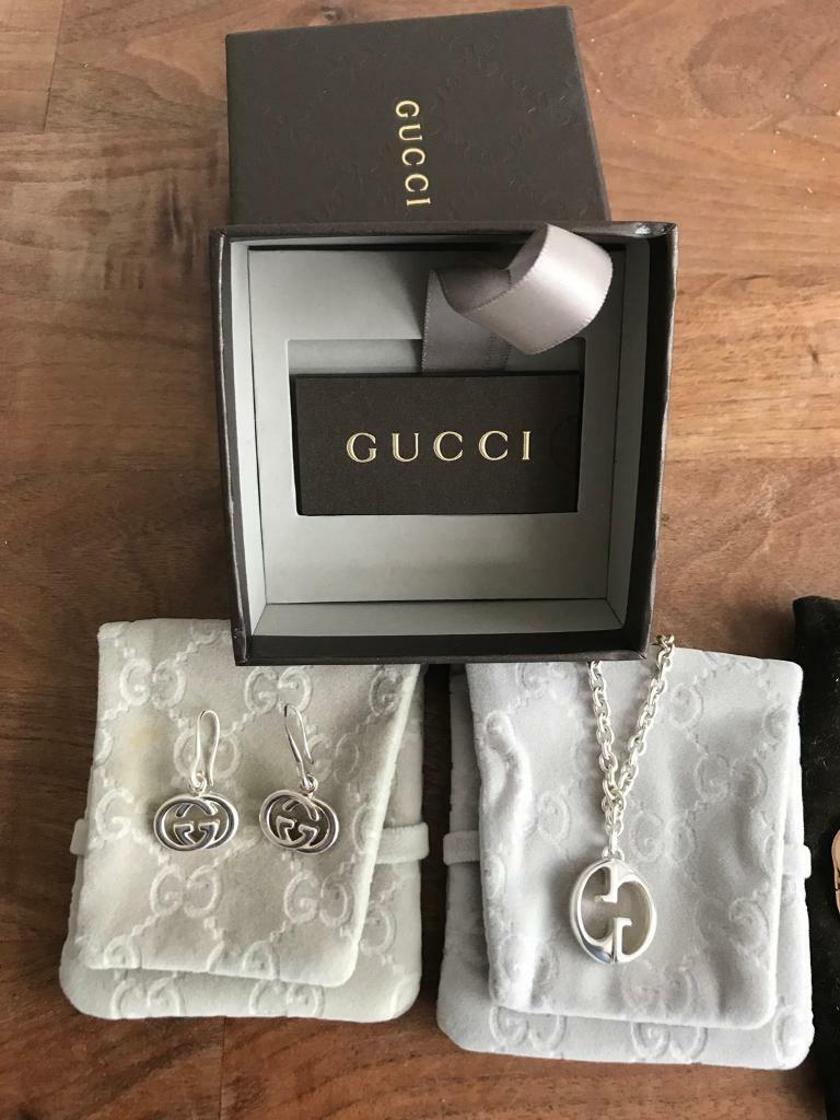 6ac012852d4 GUCCI STERLING SLIVER EARRINGS   NECKLACE £90