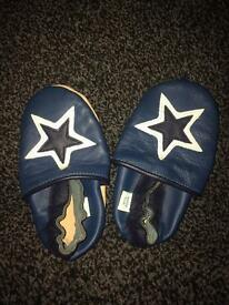 Soft blue leather baby shoes