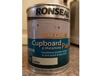 7 x 750ml tins of Ronseal cupboard paint Ivory Satin