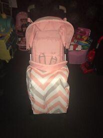 my babiie pink chevron chevron stroller