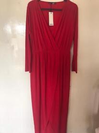 Boohoo Size 18 Red Wrap Dress