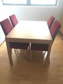Rectangular Wooden Table with 4 Red Fabric Chairs