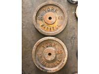 2 x 15kg York weight plates