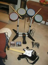 PLAYSTATION 3 'ROCK BAND' GAME WITH MICROPHONE,GUITAR,BASS PEDAL,STICKS + 'BEATLES'. DELIVERY POSS