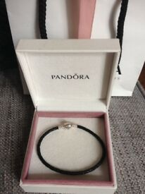 Black leather pandora bracelet