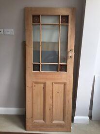 Solid pine half glazed door