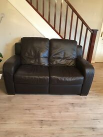 2 Brown Leather settees excellent condition