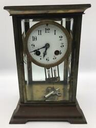 Antique French Bronze 4 Glass Clock with Mercury Pendulum, circa 1880-1890 Works