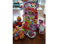 Vtech first steps baby walker pink and baby toys