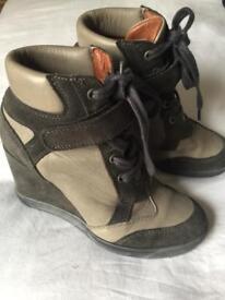 Boots Designer Wedge High Top Grey Size 4 uk