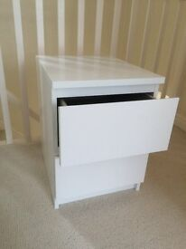 IKEA 2 drawer WHITE MALM bedside chest