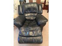 3 piece recliner black leather suite