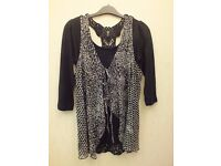 Ladies black and white top - M&S size 10