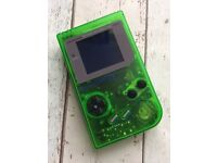 Modified Gameboy With Installed Backlight and Bivert Chip - Green