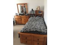 Free: Childs Bed and chest of drawers- wooden, slight repair needed