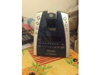 Alarm Clock Classic Display Radio Digital Silver Blue