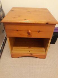 Pine bedside cabinet.