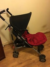 OBABY PUSH CHAIR WITH RAIN COVER AND MACLAREN ZIP SEAT COVER